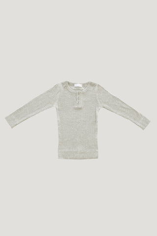 Original Cotton Henley - Light Grey Marle