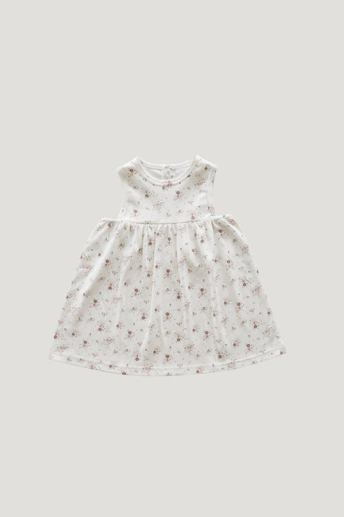 Organic Cotton Sleeveless Dress - Sweet William Floral