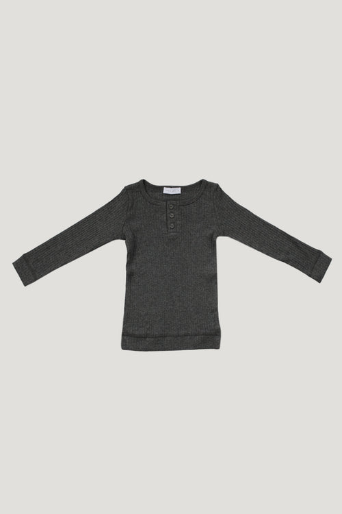 Original Cotton Henley - Dark Grey Marle