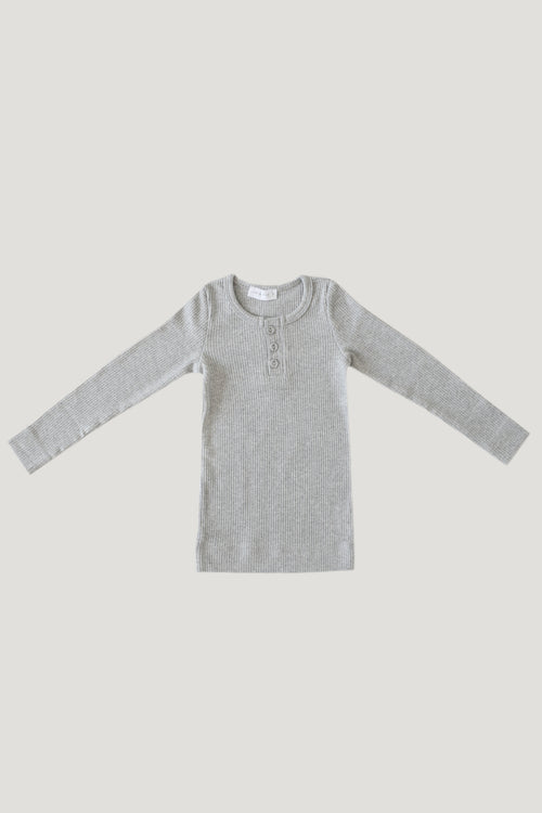 Cotton Henley - Light Grey Marle