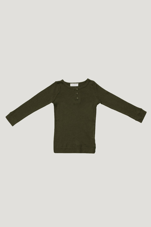 Cotton Modal Henley - Olive