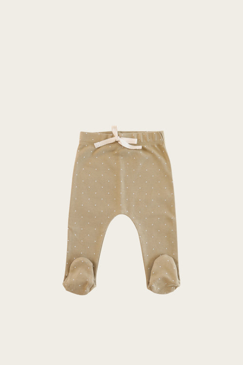 Organic Cotton Footed Pant - Tiny Dots Fern