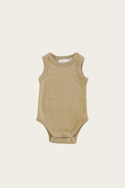 Organic Cotton Singlet Bodysuit - Tiny Dots Fern