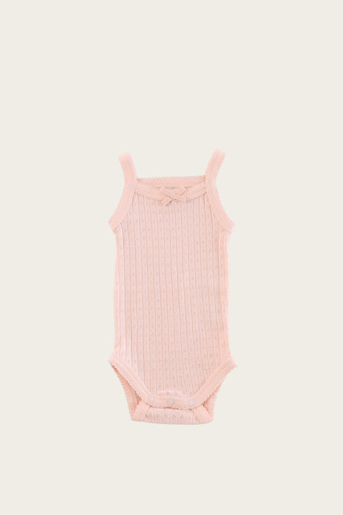 Organic Cotton Pointelle Singlet Bodysuit - Peach