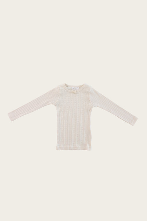 Organic Cotton Pointelle Lace Top - Ivory