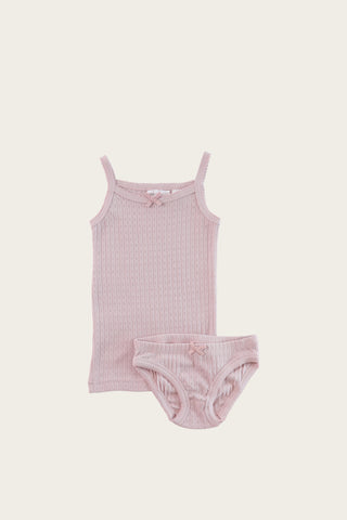Organic Cotton Pointelle Underwear Set - Peach