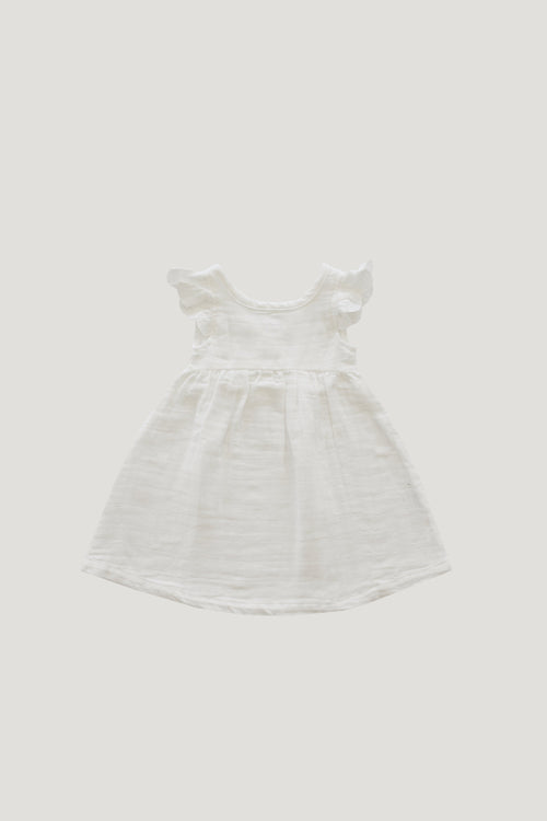 Organic Cotton Muslin Lace Dress - Coconut