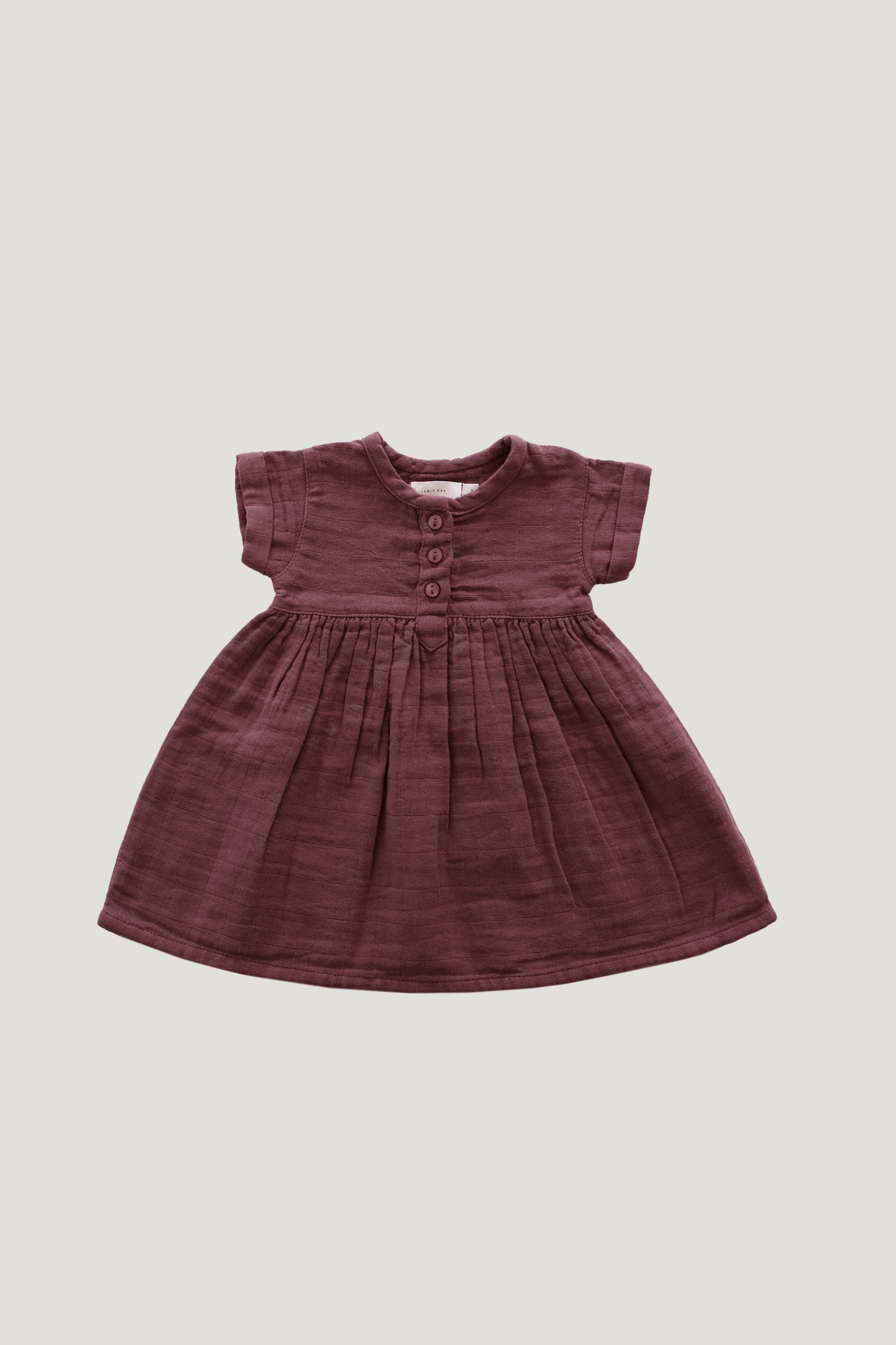 Organic Cotton Muslin Short Sleeve Dress - Berry Sorbet