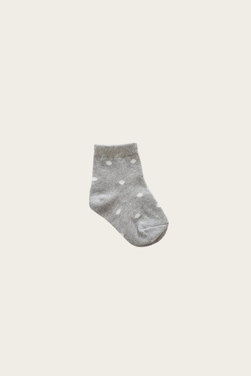 Dotty Sock - Light Grey Marle