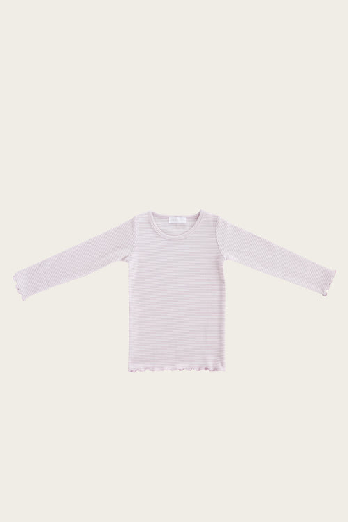 Organic Cotton Maddison Top - Lavender Stripe