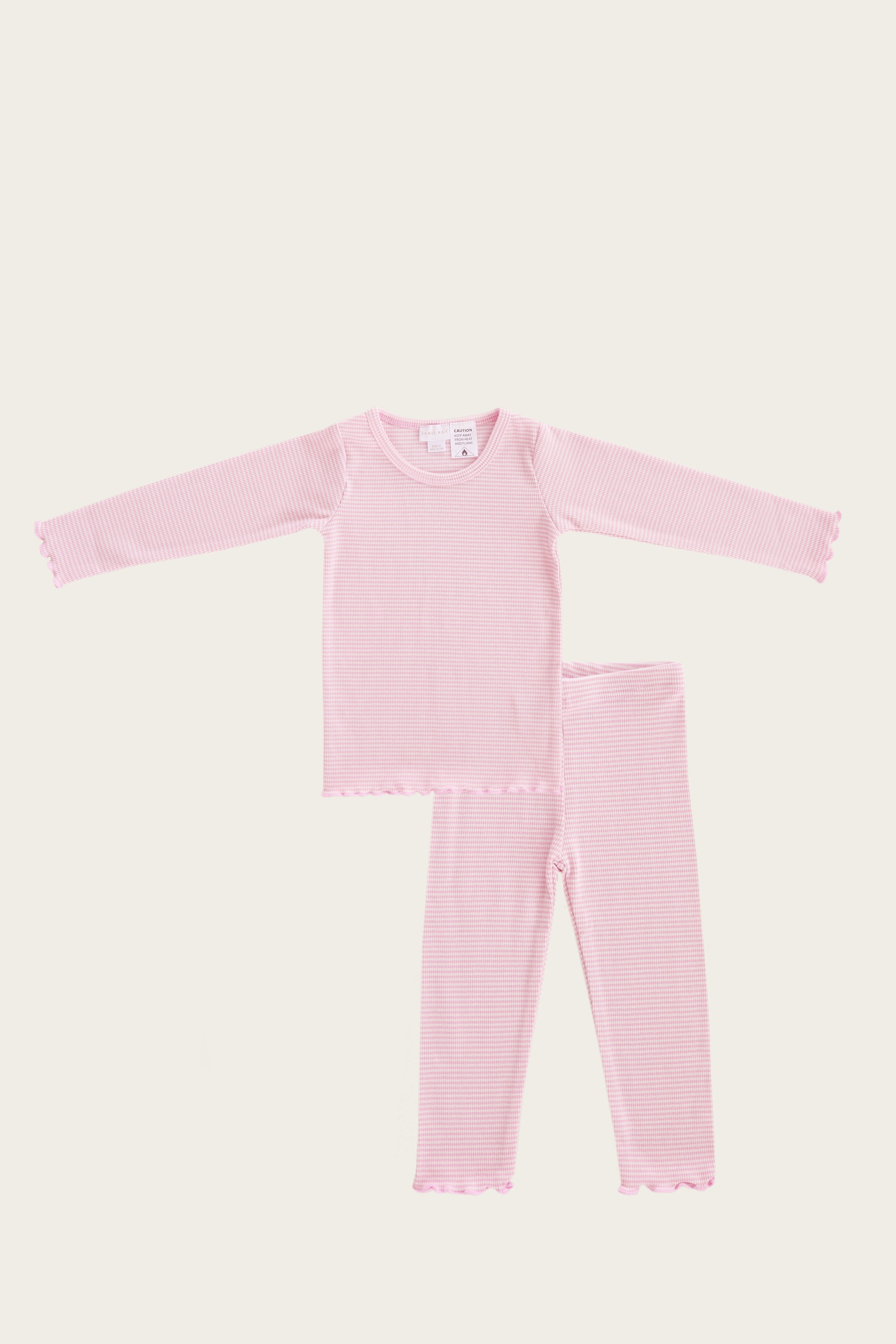 Organic Cotton Pyjama Set - Bubblegum Stripe