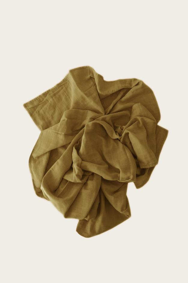 Organic Cotton Muslin Wrap Blanket - Gold