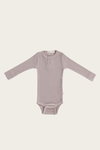 Organic Essential Long Sleeve Henley - Nostalgia Rose