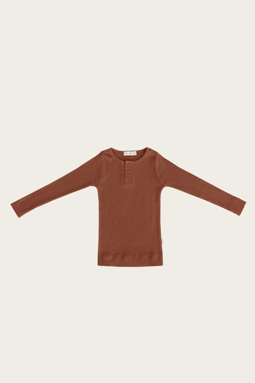 Organic Essential Long Sleeve Henley - Copper