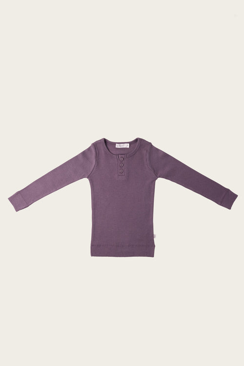 Organic Essential Long Sleeve Henley - Grape
