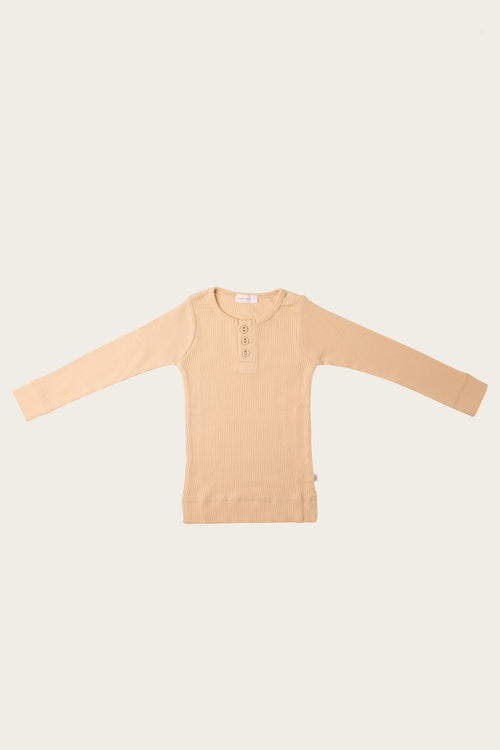Organic Essential Long Sleeve Henley - Honey Peach