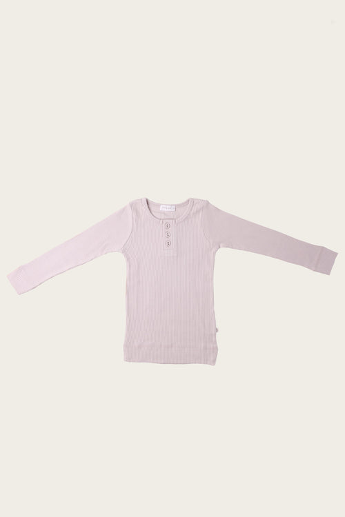 Organic Essential Long Sleeve Henley - Iris