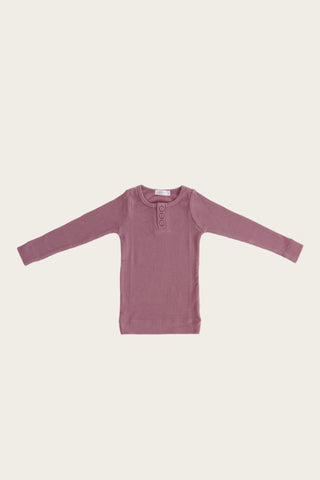 Organic Essential Long Sleeve Top - Plum