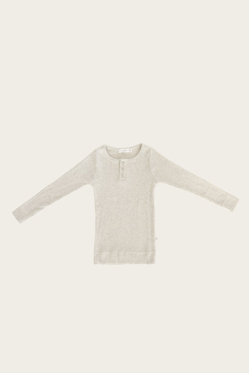 Organic Essential Long Sleeve Henley - Oatmeal Marle