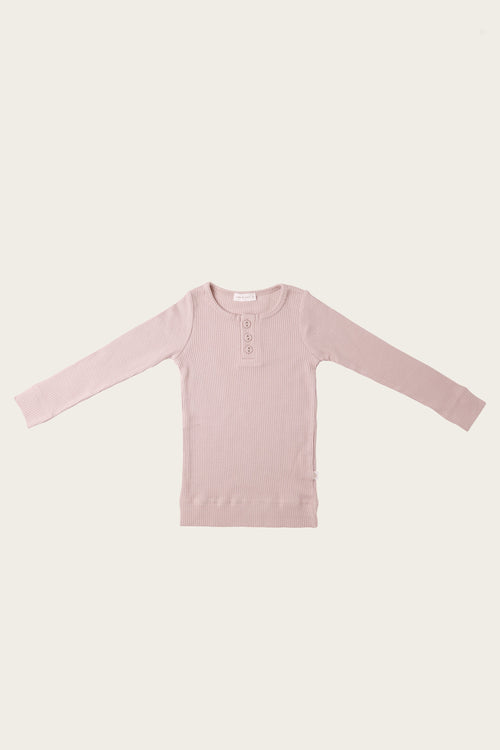 Organic Essential Long Sleeve Henley - Old Rose