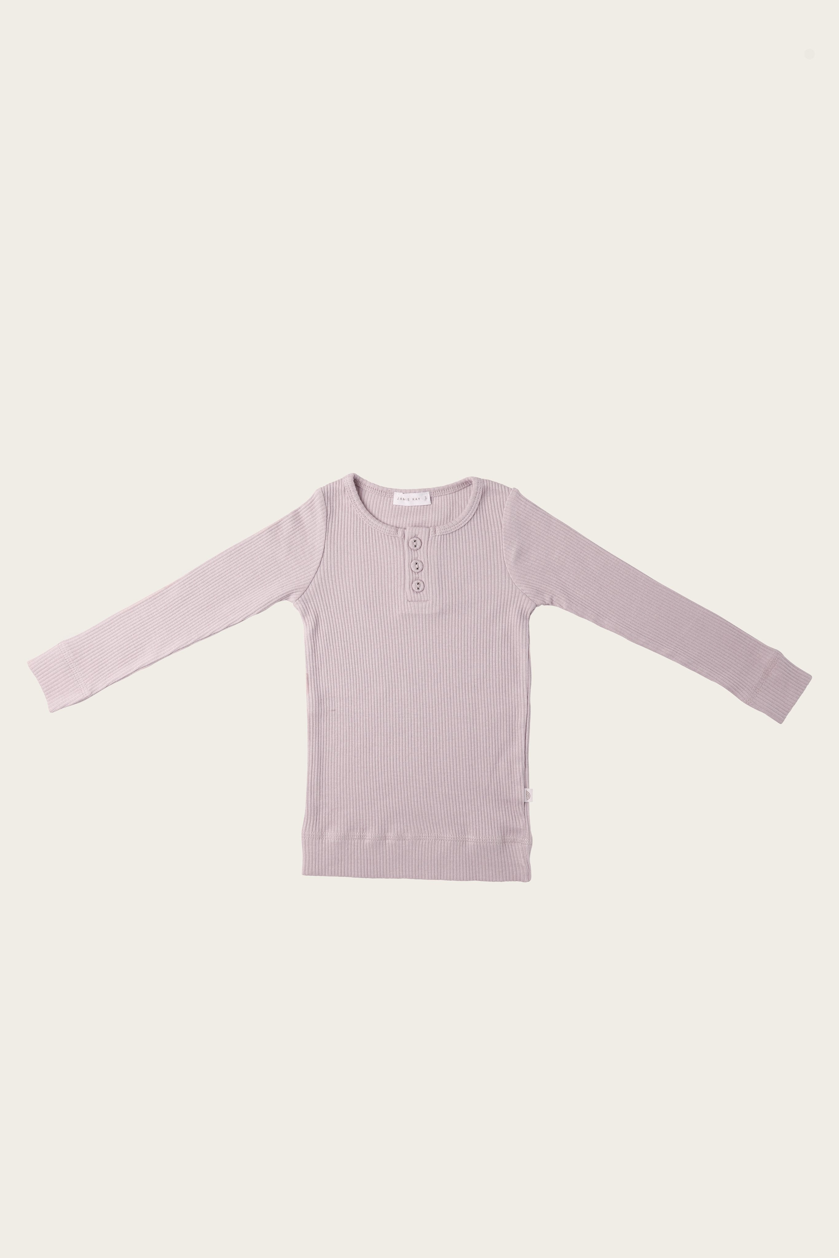 Organic Essential Long Sleeve Henley - Violet Ice