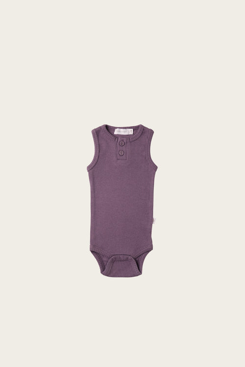 Organic Essential Singlet Bodysuit - Grape