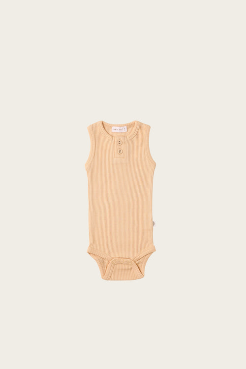 Organic Essential Singlet Bodysuit - Honey Peach