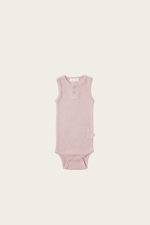 Organic Essential Singlet Bodysuit - Old Rose