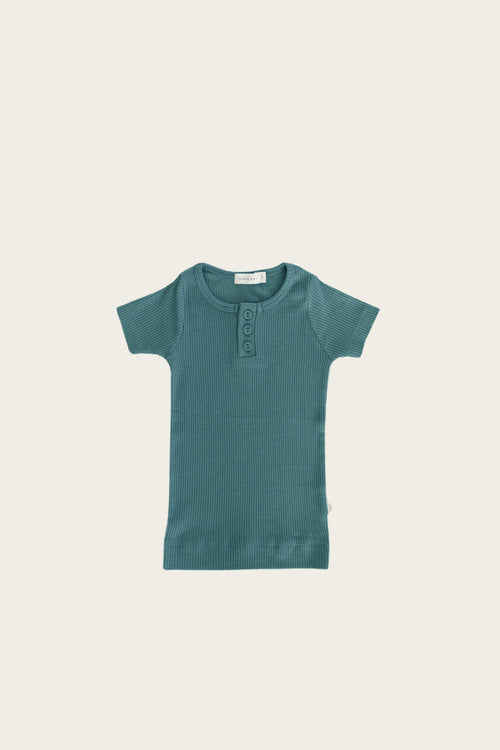 Organic Essential Tee Henley - Artic Ice