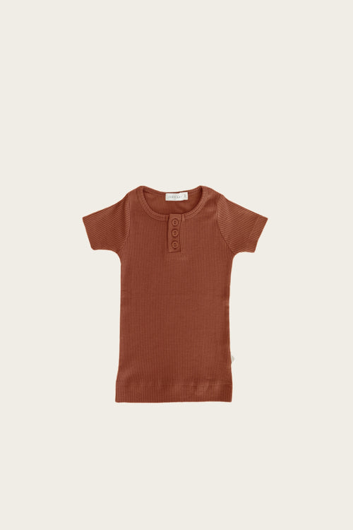 Organic Essential Tee Henley - Copper