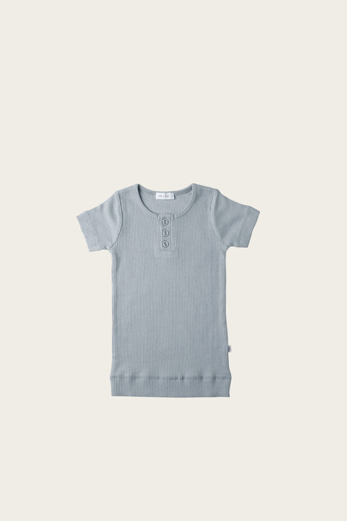 Organic Essential Tee Henley - Faded Denim