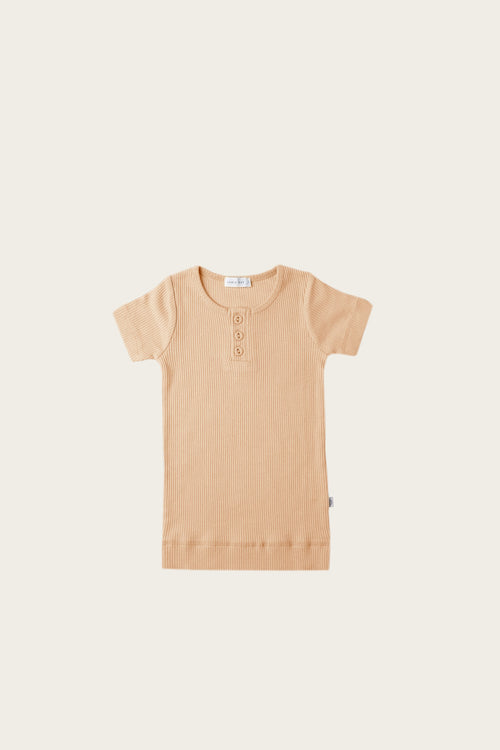 Organic Essential Tee Henley - Honey Peach