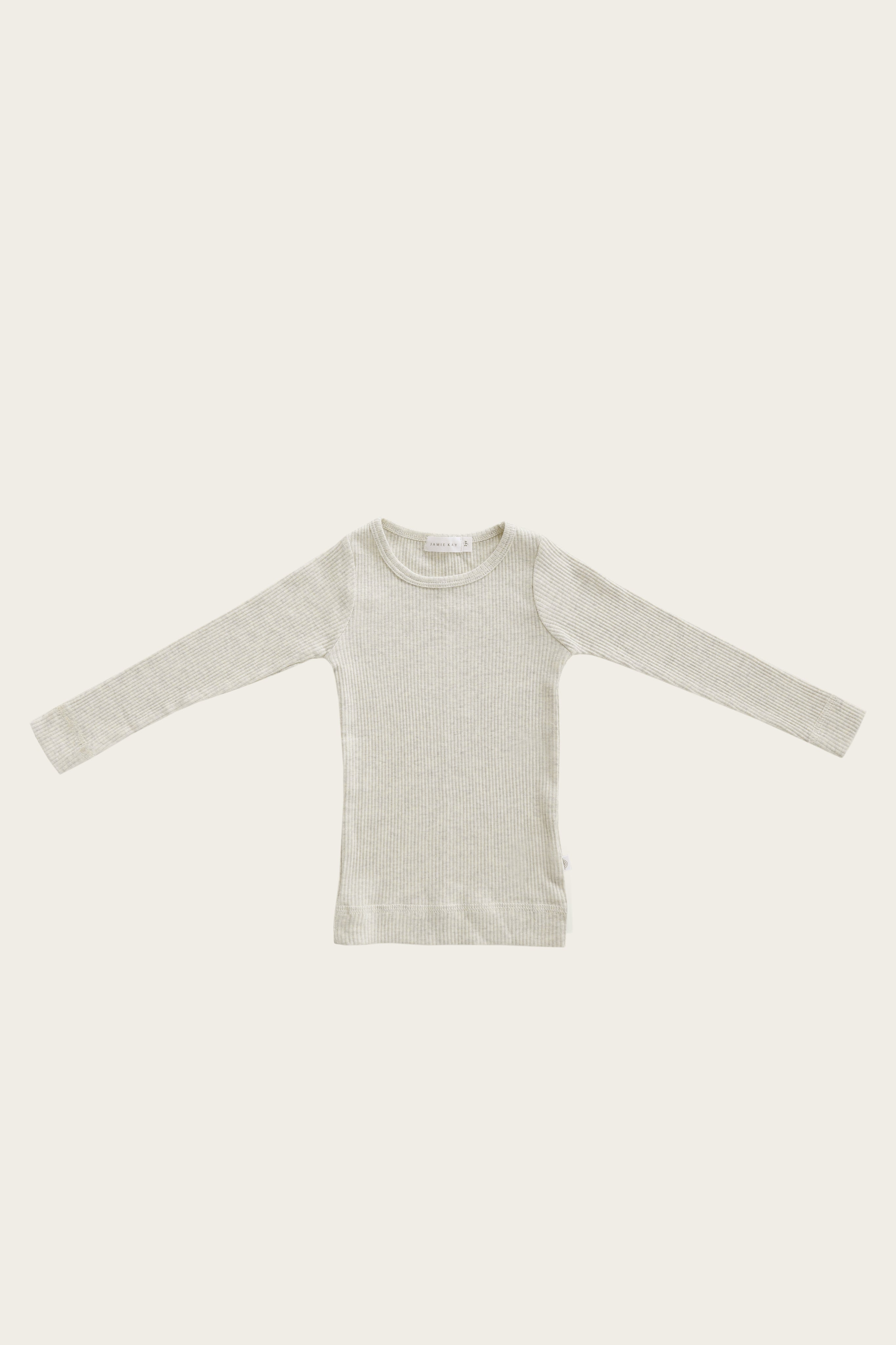 Organic Essential Long Sleeve Top - Oatmeal Marle