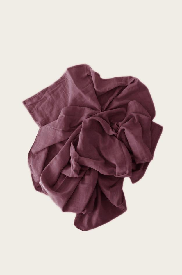 Organic Cotton Muslin Wrap Blanket - Sugar Plum