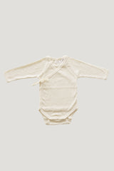 Pointelle Wrap Bodysuit - Natural