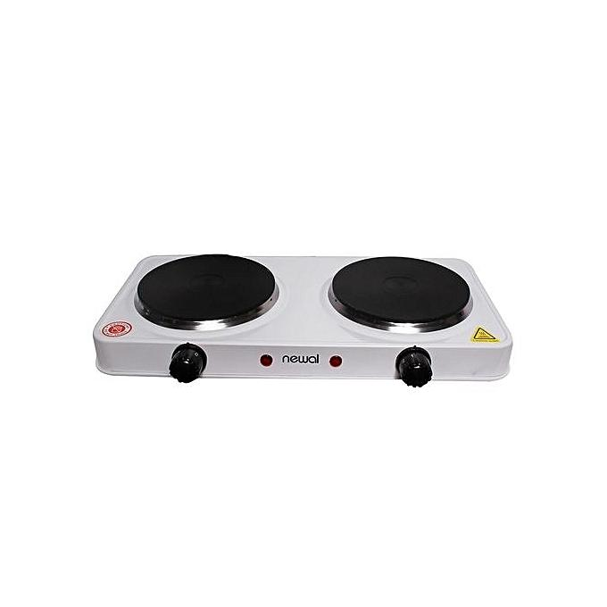 Newal CookTop HOB With Double Hot Plate, NWL-248 - White, Black-Shop Twenty Four Seven Uganda