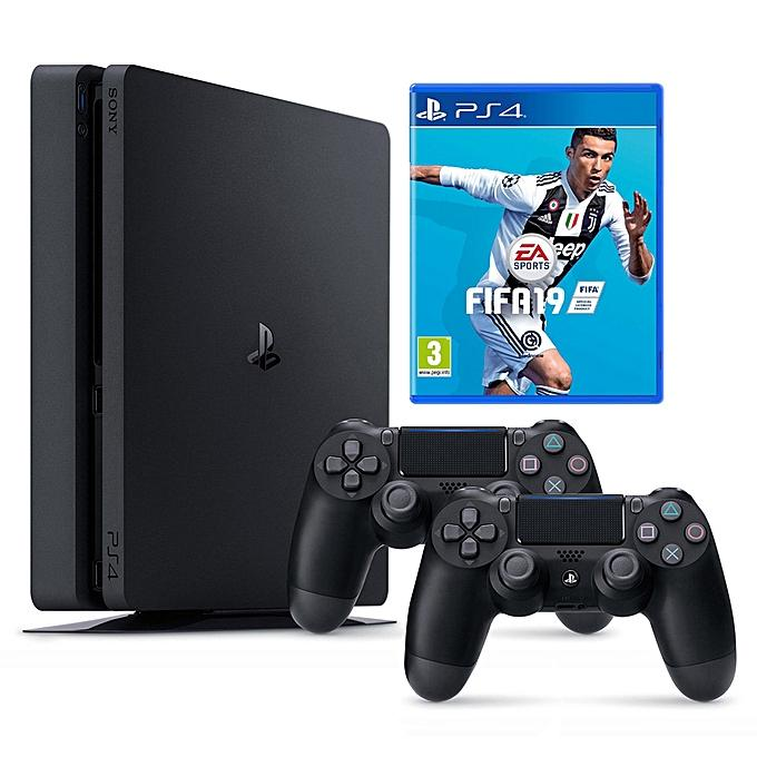 Sony PS4 Slim FIFA 19 Bunde With 2 Wireless Controllers-Shop Twenty Four Seven Uganda