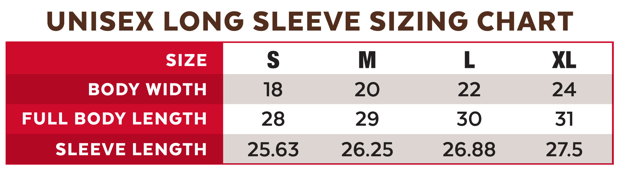Long Sleeve T-Shirt Sizing Chart