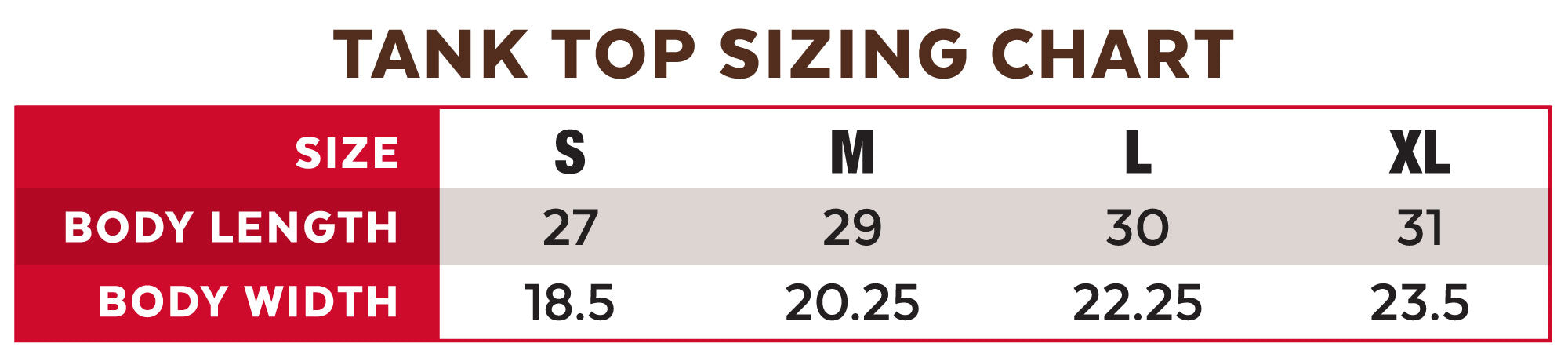Tank Top Sizing Chart