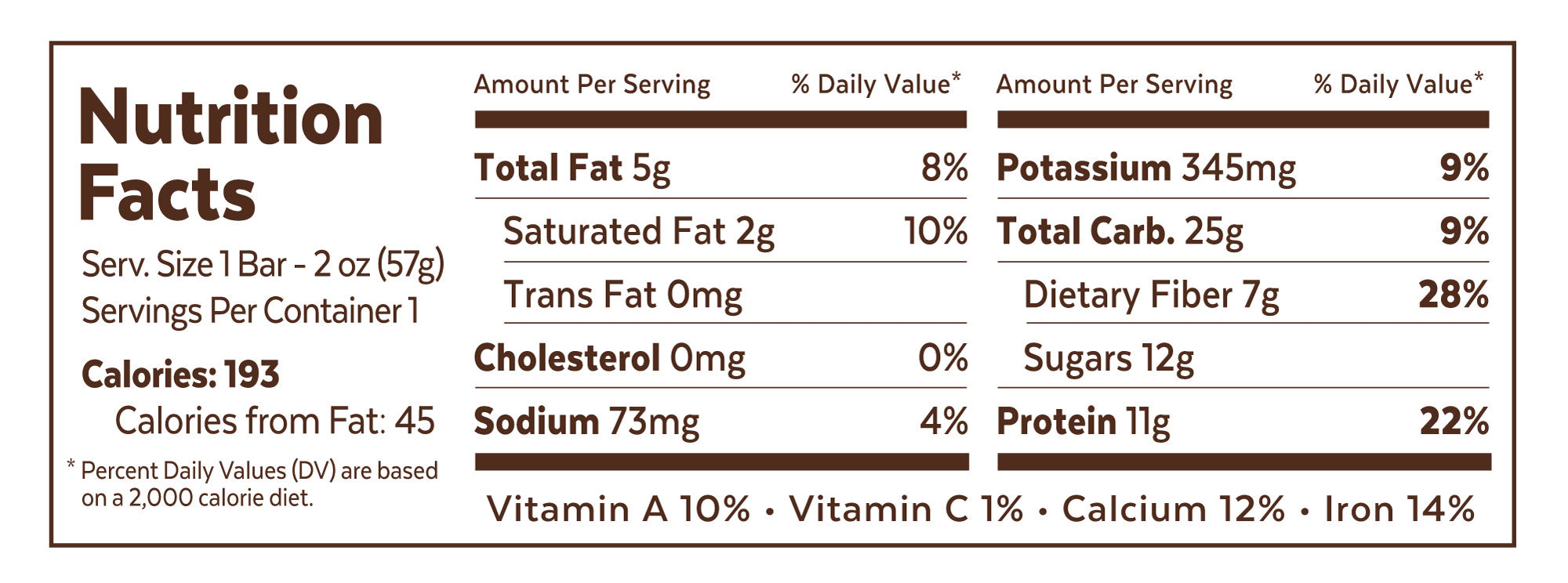 Grab The Gold - 1 Bar Nutrition Facts - PBJ