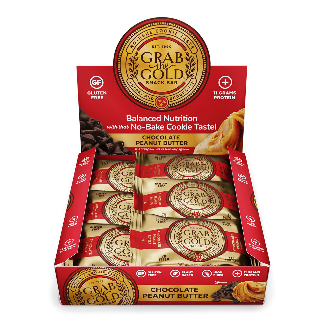 Grab The Gold Chocolate Peanut Butter Snack Bar 12 Bar Box