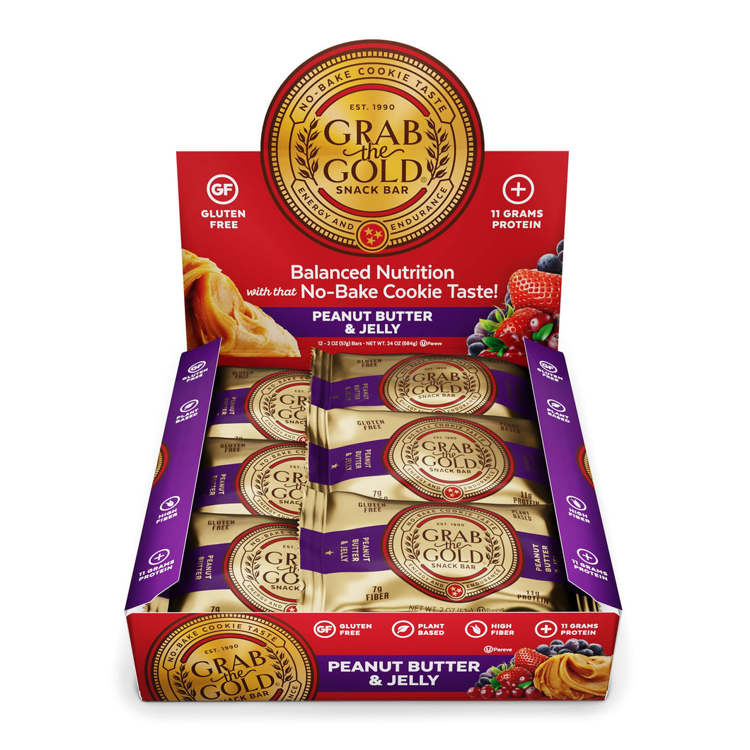 Grab The Gold Peanut Butter & Jelly Snack Bar 12 Bar Box