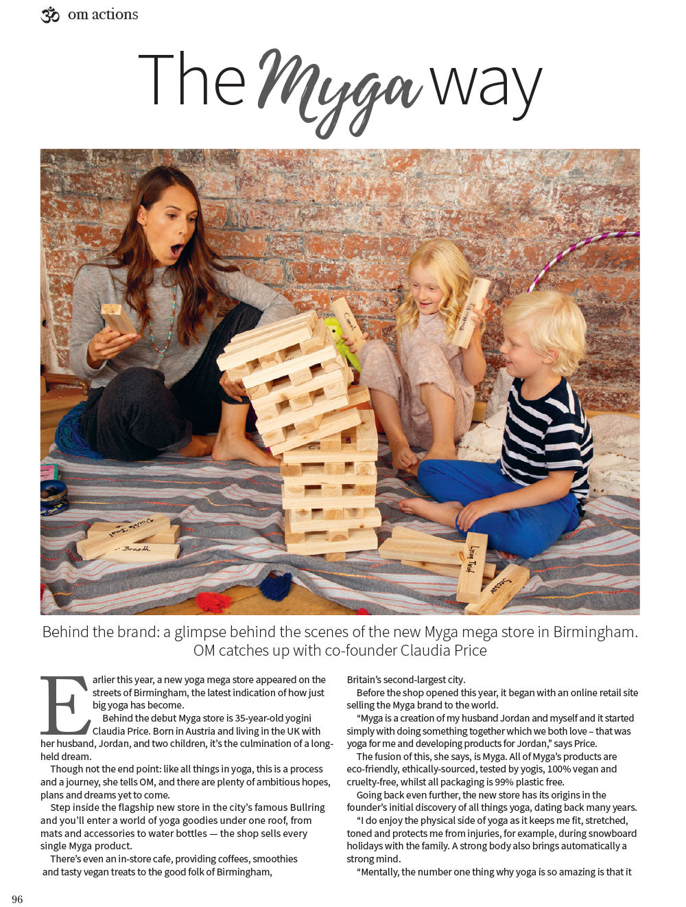 Myga Yoga Studio featured in Om Magazine