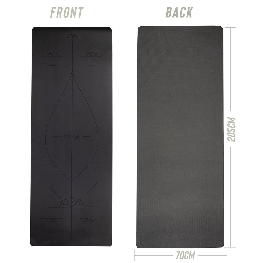 Extra Large Black Alignment Yoga Mat