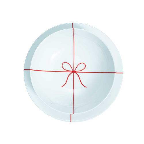 'Christmas Package' Holiday Soup Plate with Red Bow