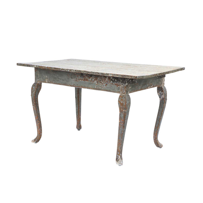 Swedish Rococo Table with Grey and Green Paint