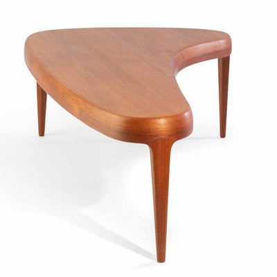 Danish Free Form Teak Coffee Table, Mid Century