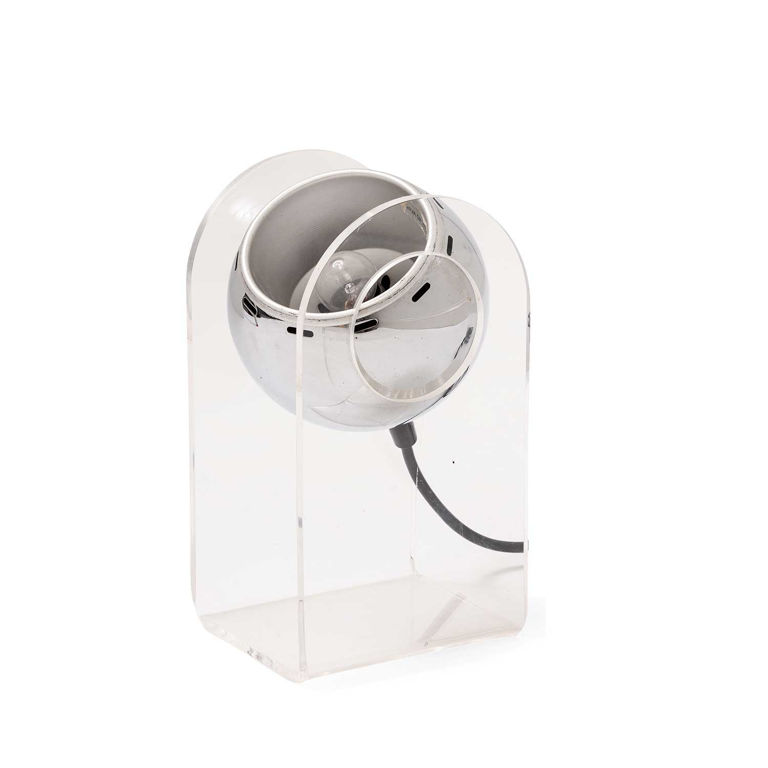 Lucite Chrome Eyeball Swivel Table Lamp