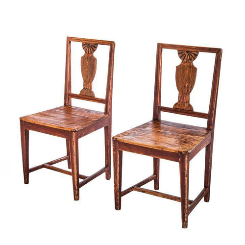 18th C. Pair of Finnish Red Baroque Back Chairs