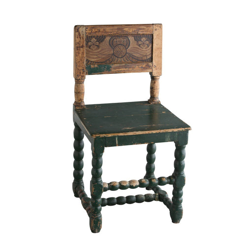 18th C. Swedish Farm Chair with Kurbits and Green Paint